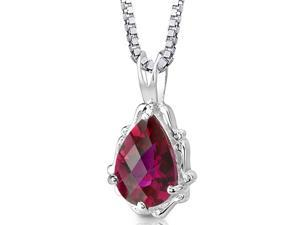 "Pear Shape Checkerboard Cut Created Ruby in Sterling Silver Pendant with 18"" Necklace"