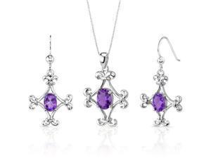 Cross Design 2.50 carats Oval Shape Sterling Silver Amethyst Pendant Earrings Set