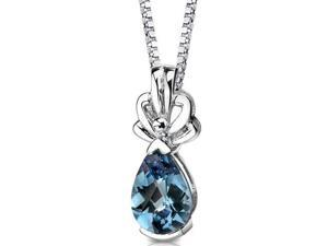 Oravo SP8340 Royal Grace: Sterling Silver Pear Shape Checkerboard Cut Alexandrite Pendant with 18 inch Silver Necklace