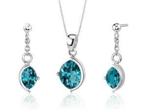 Museum Design 5.25 carats Marquise Cut Sterling Silver London Blue Topaz Pendant Earrings Set