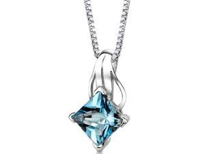 Sterling Silver 3.00 ct Princess Checkerboard Cut Swiss Blue Topaz Pendant with 18 inch Silver Necklace