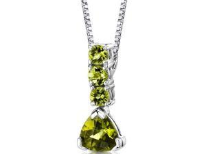 Dazzling Elegance: Sterling Silver 2.75 carats Multishape Checkerboard Cut Peridot Pendant with 18 inch Silver Necklace and