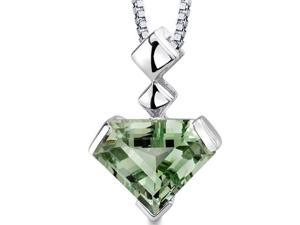 "Oravo SP8820 Superman Cut 6.25 ct. Green Amethyst Sterling Silver Pendant with 18"" Silver Necklace"