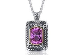 Baroness Cut 8.00 carat Pink Sapphire Sterling Silver Locket Style Pendant