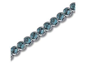 Round Cut 19 Carat London Blue Topaz Gemstone Tennis Bracelet in Sterling Silver