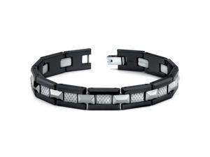 Black Ceramic Tungsten and Grey Carbon Fiber Combination link Bracelet for Men