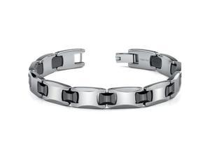 Tungsten and Ceramic Link Bracelet for Men