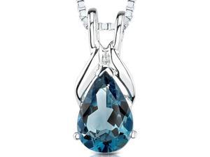 1.50 cts Pear Shape London Blue Topaz Pendant in Sterling Silver