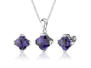 Classic Magic: 8.25 carat Checkerboard Lily Cut Alexandrite Pendant Earring Set in Sterling Silver