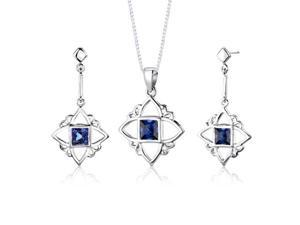 Sterling Silver Princess Cut Sapphire Pendant Earrings and 18 inch Necklace Set