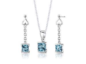 Sterling Silver 2.75 ctw Princess Cut Swiss Blue Topaz Pendant Earrings and 18 inch Necklace Set