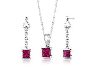 "Princess Cut Created Ruby in Sterling Silver Pendant Earrings and 18"" Necklace Set"