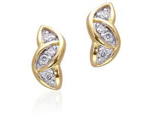 Endearing Style: Gold Vermeil Interlocked Ovals Stud Earrings with CZ Diamond