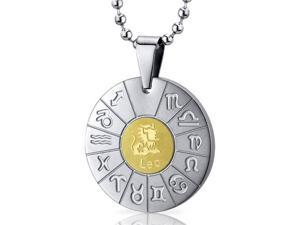 Leo Lion Sign Zodiac Symbol Stainless Steel Circle Pendant Necklace