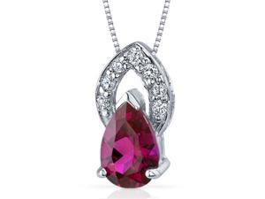 Captivating Allure 1.75 carats Pear Shape Sterling Silver Ruby Pendant