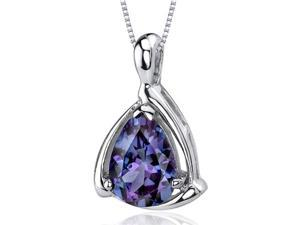 Enchanting Elegance 2.50 carats Pear Shape Sterling Silver Alexandrite Pendant
