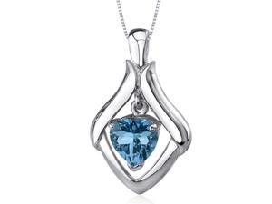 Exuberant Love 3.00 carats Heart Shape Sterling Silver London Blue Topaz Pendant