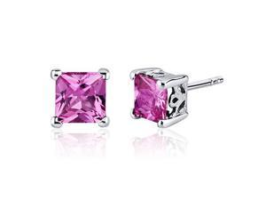 3.00 Carats Pink Sapphire Princess Cut Scroll Design Stud Earrings in Sterling Silver