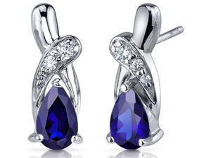 Graceful Glamour 2.00 Carats Blue Sapphire Pear Shape Cubic Zirconia Earrings in Sterling Silver