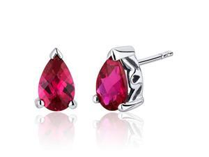 2.00 Carats Ruby Pear Shape Basket Style Stud Earrings in Sterling Silver