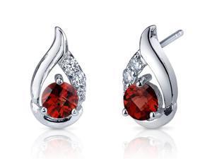 Radiant Teardrop 1.50 Carats Garnet Round Cut Cubic Zirconia Earrings in Sterling Silver