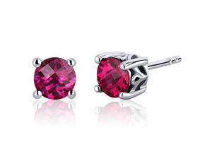 Scroll Design 2.00 Carats Ruby Round Cut Stud Earrings in Sterling Silver