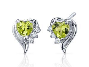 Cupids Grace 1.00 Carats Peridot Heart Shape Cubic Zirconia Earrings in Sterling Silver