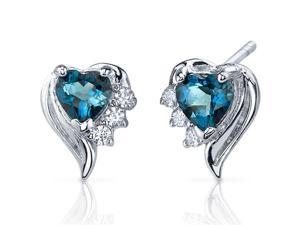 Cupids Grace SE7374 1.00 Carats London Blue Topaz Heart Shape Cubic Zirconia Earrings in Sterling Silver