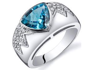 Glam Trillion Cut 2.00 Carats Swiss Blue Topaz CZ Diamond Ring in Sterling Silver Size 7