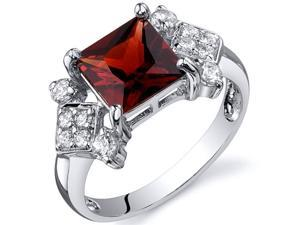 Princess Cut 2.00 carats Garnet CZ Diamond Ring in Sterling Silver Size  9, Available in Sizes 5 thru 9