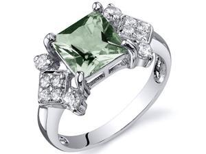 Princess Cut 1.50 carats Green Amethyst CZ Diamond Ring in Sterling Silver Size  8, Available in Sizes 5 thru 9