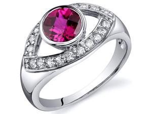 Captivating Curves 1.00 carats Ruby Ring in Sterling Silver Size 5