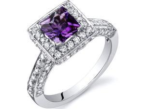 Princess Cut 0.75 Carats Amethyst Engagement Ring in Sterling Silver Size 9