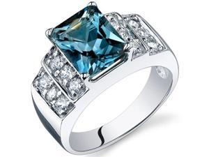 Radiant Cut 2.50 carats London Blue Topaz CZ Diamond Ring in Sterling Silver Size  8, Available in Sizes 5 thru 9