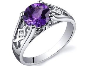 Cathedral Design 1.25 carats Amethyst Solitaire Ring in Sterling Silver Size 6