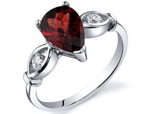 3 Stone 1.50 carats Garnet Ring in Sterling Silver Size 8