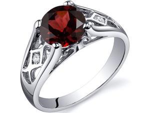 Cathedral Design 1.50 carats Garnet Solitaire Ring in Sterling Silver Size 5