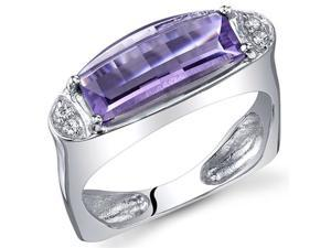 Radiant and Seductive 2.00 Carats Barrel Cut Amethyst Ring in Sterling Silver Size 6, Available Sizes 5 to 9