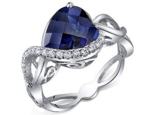 Swirl Design 4.00 Carats Heart Shape Blue Sapphire Ring in Sterling Silver Size 5, Available Sizes 5 to 9