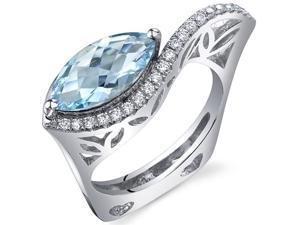 Filigree Style 2.00 Carats Marquise Cut Swiss Blue Topaz Ring in Sterling Silver Size 7, Available Sizes 5 to 9