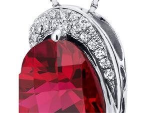 Oravo SP10470 Tilted Heart Shape 4.50 carats Sterling Silver Ruby Pendant