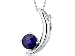 Crescent Moon Design 1.00 carats Round Checkerboard Cut Sterling Silver Blue Sapphire Pendant
