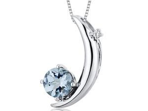 Crescent Moon Design 1.00 carats Round Checkerboard Cut Sterling Silver Aquamarine Pendant