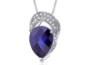 Elegant Tear Drop 3.00 carats Pear shape Sterling Silver Blue Sapphire Pendant