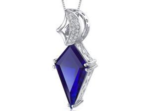 Kite Shape Large 8.00 carats Sterling Silver Blue Sapphire Pendant