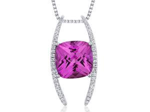 Slider Style Large 7.75 carats Cushion Cut Sterling Silver Pink Sapphire Pendant