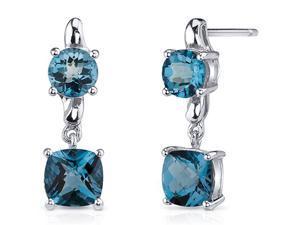 Cushion Cut 3.25 Carats London Blue Topaz Earrings in Sterling Silver Rhodium Finish