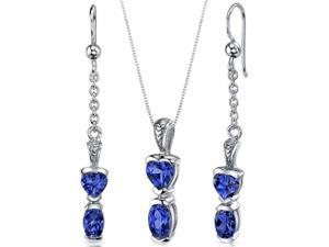 Cupids Charm 3.00 carats Oval and Heart Shape Sterling Silver with Rhodium Finish Sapphire Pendant Earrings Set
