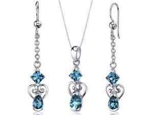 2 Stone Heart Design 3.25 carats Pear Shape Sterling Silver with Rhodium Finish London Blue Topaz Pendant Earrings Set