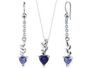 Dangling 2.00 carats Heart Shape Sterling Silver with Rhodium Finish Sapphire Pendant Earrings Set